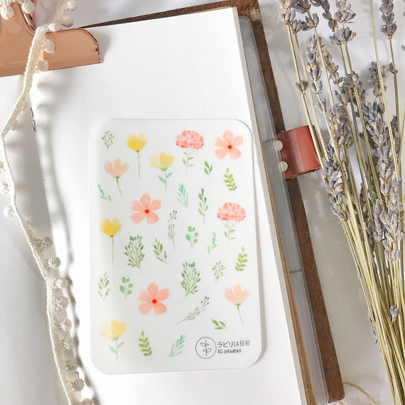 Little leaves yellow pink transparent stickers by labiri